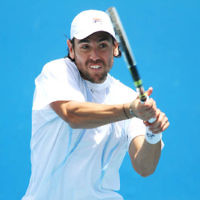 9-1-13. Australian Open Qualifiers. Amir Weintraub def Wayne Odesnik 7-6, 4-6, 6-3. Odesnik . Photo: Peter Haskin