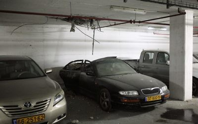 A carpark in Ashdod hit by a rocket from Gaza