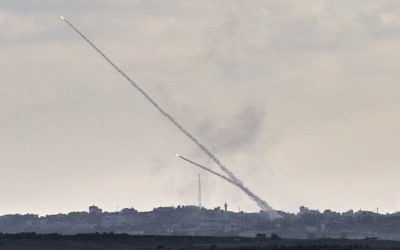 Rockets being fired from Gaza during the 2014 war. The current rocket barrage could lead to another conflict.