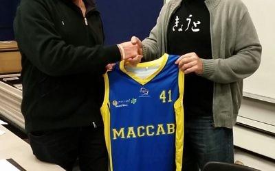 Maccabi's Mark Garkawe (left) with new youth league coach, Al Westover.