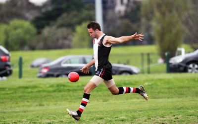 David Fayman kicked his 500th VAFA goal during the AJAX loss to Uni Blues. Photo: Peter Haskin