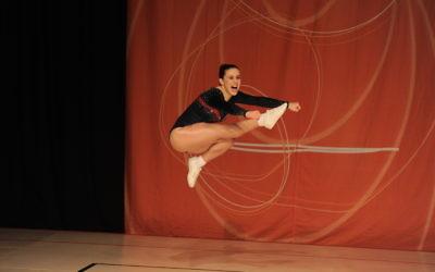 Deborah Greenbaum during her gold-mdeal winning routine at the Australian Aerobic Championshops. Photo: Winkipop Media