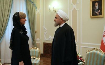 Julie Bishop with Ayatollah Ali Khamenei in Iran last year.