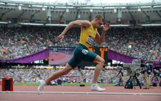 Australian athlete Steven Solomon competes during the 1st round of the Men's 400m at the Olympic Games in London, Saturday, Aug 4, 2012. (AAP Image/Dave Hunt) NO ARCHIVING