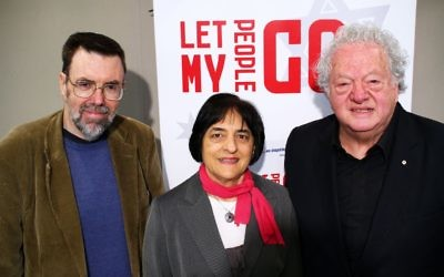 "17-5-15. From left: Greg Barton, Suzaane Rutland, Sam Lipski. Book launch of ""Let My People Go"" at Beth Weizmann. Photo: Peter Haskin"