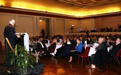 31-5-15. B'nai B'rith 70th anniversary. Prof Louis Waller speakign the the guests at the GlenEira Town Hall. Photo: Paul Gardner.