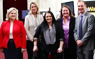 9-6-15. Israel medical innovation exhibtion at Parliament house , Victoria. From left: Margaret Fitzherbert, Georgie Crozier, Kristee Shepherd, Mary Wooldridge, David Southwick. Photo: Peter Haskin
