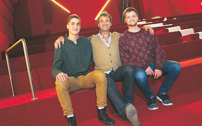 PHOTO of Eddie Tamir and sons Benji (left) and Josh in the new Lido Cinemas in Hawthorn.  Photo: Peter Haskin