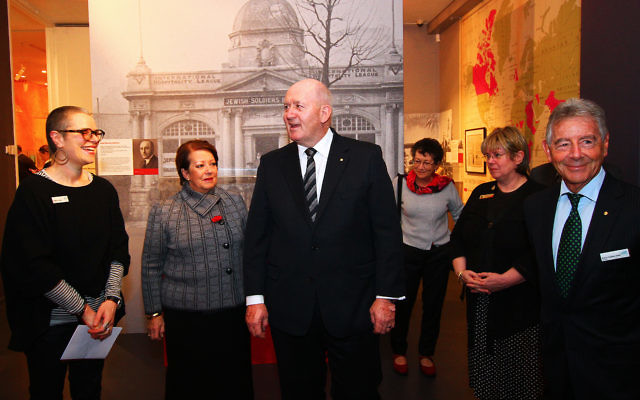 Govenor General of Australia, General Sir Peter Cosgrove takes a tour of the World War I exhibition at the Jewish Museum of Australia. Photo: Peter Haskin