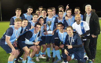 The Moriah boys celebrate with the CIS Cup. Photo: Yvette Sher