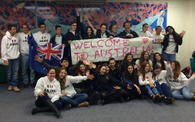 The delegation of Israeli students given a warm welcome at Bialik College.