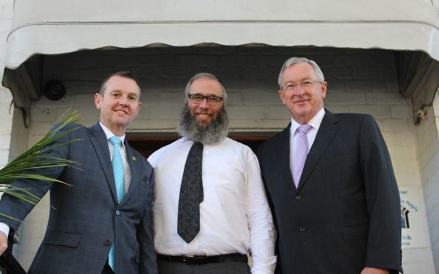 From left: Bruce Notley-Smith, Rabbi Mendel Kastel and Brad Hazzard at Jewish House.