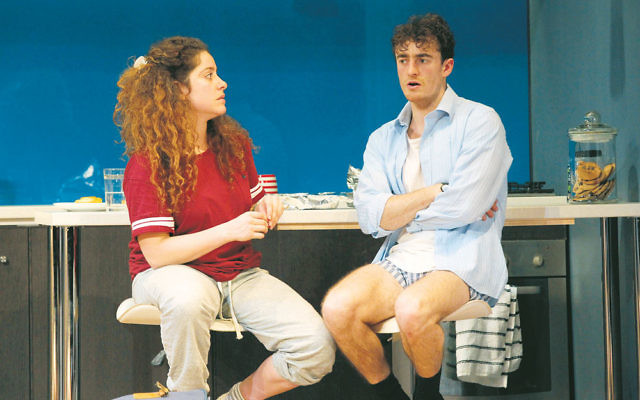 Cousins Daphne (Maria Angelico) and Jonah (Matt Whitty) in Bad Jews. Photo: Jeff Busby