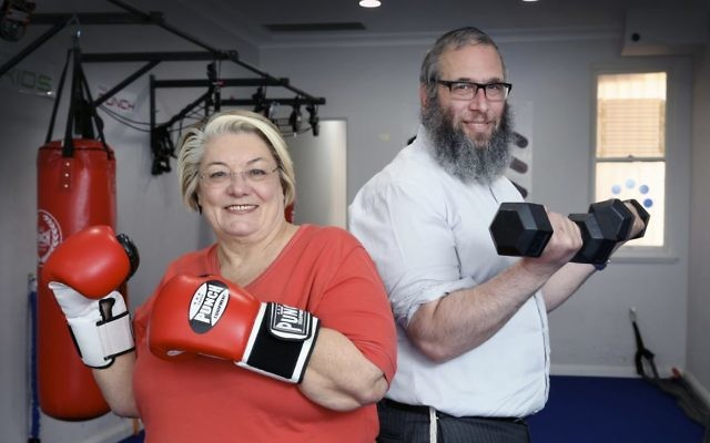 Sally Betts and Rabbi Mendel Kastel are ready for the Fitness and Weight Loss Community Challenge. Photo: Noel Kessel