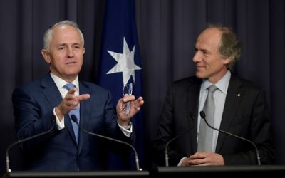 Prime Minister Malcolm Turnbull (left) and newly appointed chief scientist Dr Alan Finkel at Parliament House on Tuesday. Photo: AAP Image/Lukas Coch