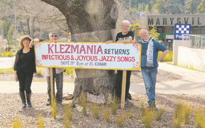 Klezmania is welcomed to Marysville in Victoria's High Country. From left: Freydi Mrocki, Eugene Belenko, David Krycer and Lionel Mrocki.