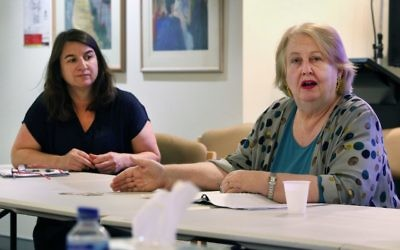 Ann Hodge presents at the meeting while JewishCare's Claire Gil-Munoz looks on. Photo: Noel Kessel
