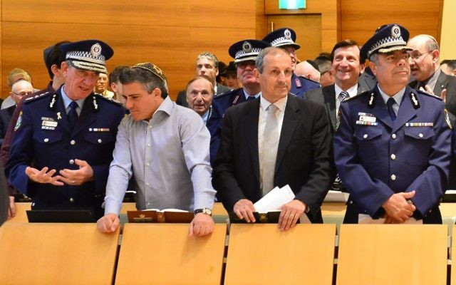 NSW Police Commissioner Andrew Scipione chats to Central Synagogue president Danny Taibel, alongside NSW Jewish Board of Deputies CEO Vic Alhadeff, and Deputy Commissioner Nick Kaldas.  Photo: Henry Benjamin