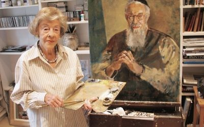 Judy Cassab with her portrait of Rabbi Zalman Schachter-Shalomi. Photo: Joshua Levi