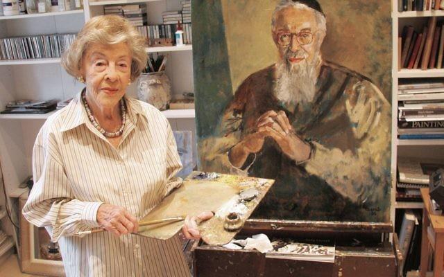 Judy Cassab with her portrait of Rabbi Zalman Schachter-Shalomi. Photo: Joshua Levi