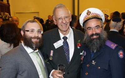Warwick Abadee (centre) with Rabbi Danny Yaffe (left) and Rabbi Dovid Slavin at the Centenary of Jewish Anzac ceremony at the Great Synagogue in May. Photo: Noel Kessel
