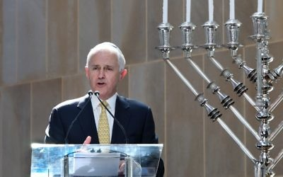 Malcolm Turnbull at Central Synagogue. Picture: Noel Kessel.
