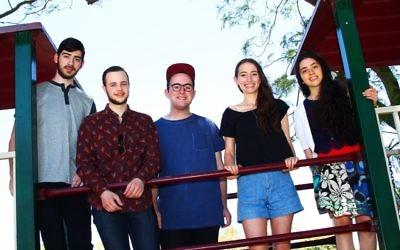 Top VCE students 2015. From left: Mendel Jacks (Yeshivah), Asher Reisner (Bialik), Gabriel Strum (Yavneh), Eden Stone-Eilam (King David), Lital Weizman (Beth Rivkah). Photo: Peter Haskin