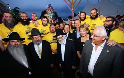 The organisers of Chanukah in the Racecourse with the attending politicians. Photo: Peter Haskin