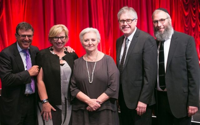 From left: co-president Gary Cohen, Rosie Batty, Nora Goodridge, co-president Roger Clifford and Rabbi Mendel Kastel at the gala dinner. Photo: Nadine Saacks
