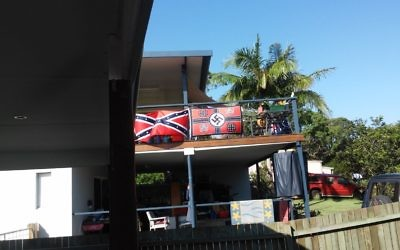The offending flag which can be seen from the street in the northern NSW town of Iluka.