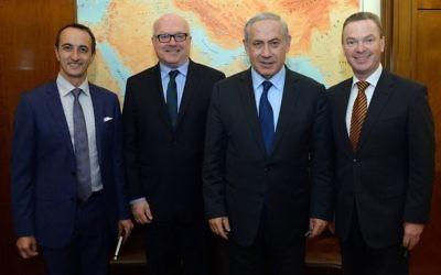 From left: Dave Sharma, George Brandis, Benjamin Netanyahu and Christopher Pyne.