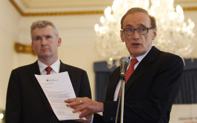 Tony Burke (left) and Bob Carr. Photo: AP Photo/Achmad Ibrahim
