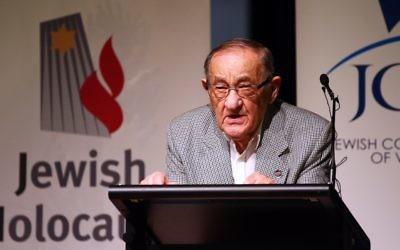 Holocaust survivor Moshe Fiszman shared his testimony at UN Holocaust Remembrance Day. Photo: Peter Haskin
