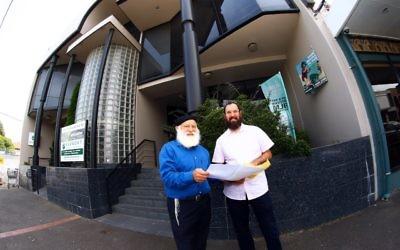 23-1-16. Rabbi Laibl Wolf (left) and Rabbi Menachem Wolf stanging outside the new Spiritgrow premises at 204-206 Balaclava Rd. Photo: Peter Haskin