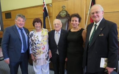 From left: Cr Serge Thomann, president of the Raoul Wallenberg Unit Jacqui Dinor-Corry, chairman of the Action Wallenberg Committee Phil Symons, Dr Avril Alba, and Professor Frank Vajda. Photo: Judi Schiff.