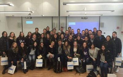 Australian students in Israel at a StandWithUs event.