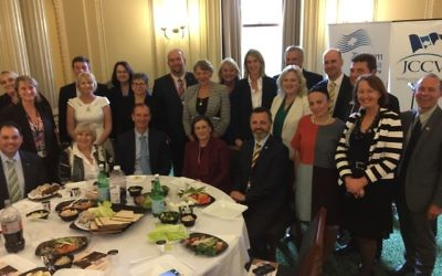 Politicians and communal leaders at last week's Passover lunch in parliament.