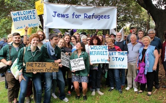 Robin Margo (far right) with other Jewish representatives at the Palm Sunday Rally for Refugees. Photo: Judy Pincus
