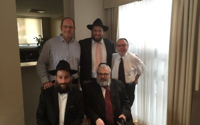 Back (from left): Rabbis Paul Lewin, Eli Feldman and Chaim Ingram. Front (from left): Rabbis Eli Cohen and Yehoram Ulman.