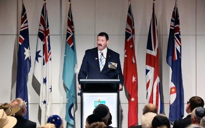 Mike Kelly addressing NAJEX's ANZAC commemoration event. Photo: Noel Kessel