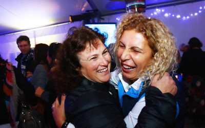 Partying at the Blue and White Night at the Beth Weizmann Centre, Melbourne. Photo: Peter Haskin.