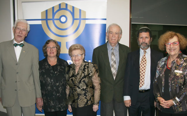 From left: Dr Peter Schiff OAM (chairman of the Menorah Awards committee), Bev Gelbart, Hilda Rosner, Leonid Shvartsman, Iain Messer, and Faye Haskin-Dubrowin (B'nai B'rith Victoria president). Photo by Dr Paul Gardner.