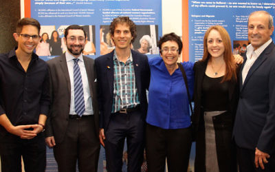 From left: Brandon Srot, Rabbi Benjamin Elton, Justin Koonin, Dawn Cohen, Rabbi Jacqueline Ninio and Vic Alhadeff.
