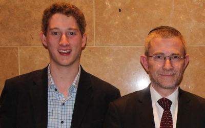 Recipient from Mount Scopus College Jordan Davis (left) with Rabbi James Kennard at last week's Premier's Awards.