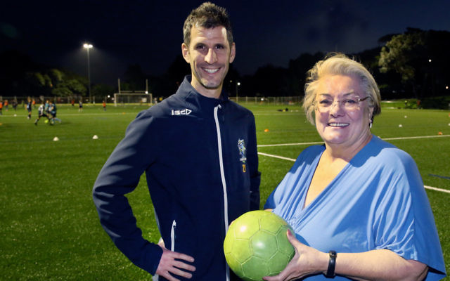 Hakoah Sydney City East Club president Mike Katz with Waverley mayor Sally Betts at the launch of a synthetic field at Waverley Oval. Photo: Noel Kessel.