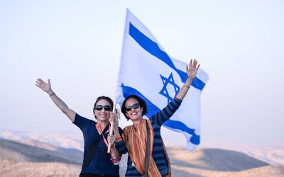 Tonia Price (left) and Karen Isman overlooking the Jordanian Desert during the recent Orah trip to Israel.