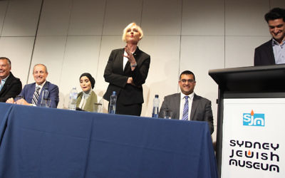 Catherine McGregor makes a point about tackling prejudice at a panel discussion at the Sydney Jewish Museum on June 15. Photo: Giselle Haber.