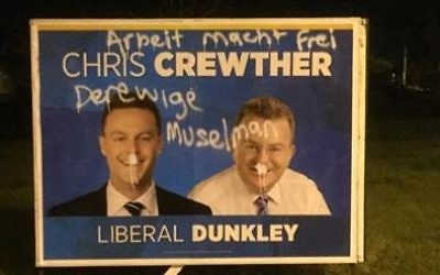 The defaced Liberal Party campaign sign in Frankston, Victoria last week, scrawled with Nazi slogans.