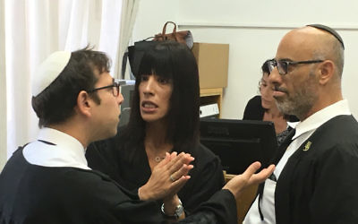Prosecutor Matan Akiva argues with Leifer's defence lawyers Yehuda Fried and Adi Niv in court. Photo: Nathan Jeffay.
