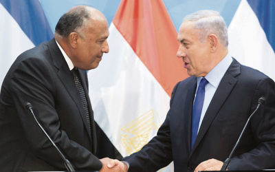 Egyptian Foreign Minister Sameh Shoukry (left) shakes hands with Israeli Prime Minister Benjamin Netanyahu during a joint brief statement to the media at the Prime Minister's office in Jerusalem this week. Photo: EPA/Abir Sultan.